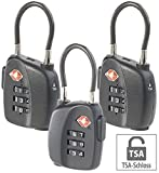 AGT Kofferschlösser: 3er-Set TSA-Koffer- & Gepäck-Schlösser mit Zahlencode und Stahlkabel