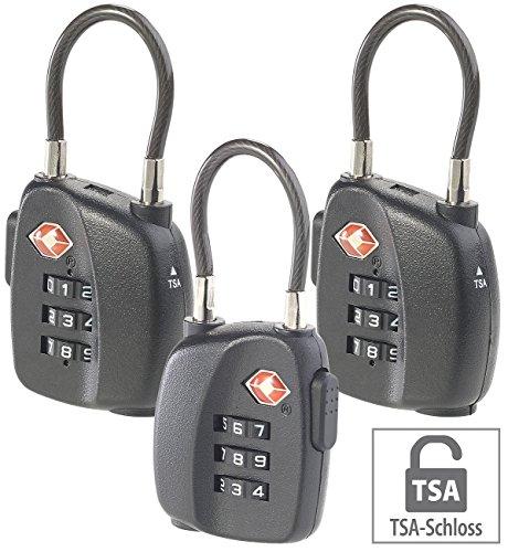 AGT Gepäckschloss: 3er-Set TSA-Koffer- & Gepäck-Schlösser mit Zahlencode und Stahlkabel (TSA Kofferschloss)