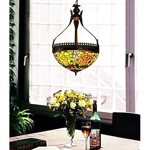 Vintage Makenier estilo Tiffany de cristal grande de la flor color de rosa de la lámpara de techo invertido, 40,64 cm Diagonal