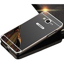 Sunroyal Premium Espejo Funda Para Samsung Galaxy Grand Prime G530 G530H G5308 Aluminio Carcasa Case Ultra Thin Mirror Efecto Metal Bumper Shell Cover Ultra Thin Mirror Efecto Cubierta Protectora Alta Calidad Hard Shell Espejo Funda - Negro