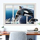 StylishWalls 3D Window Wall Sticker - Beautiful Dolphins Underwater Sea Fish You Always Missed Around You (PVC Vinyl, 93 Cm * 63 Cm, Self-Adhesive & Eco-Friendly, Large)
