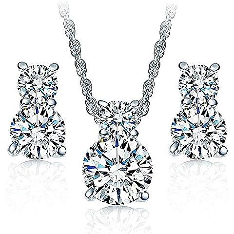 18K Chapado en oro blanco collar Crystal Stud Pendientes Cubic Zirconia Jewelry Set para mujer Teen