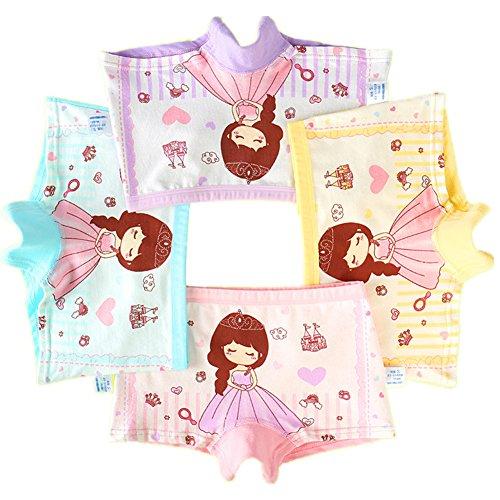 Mädchen Unterhose Slip Kinder-Unterwäsche Baumwolle im 4er PACK (4-6 Jahre, A)