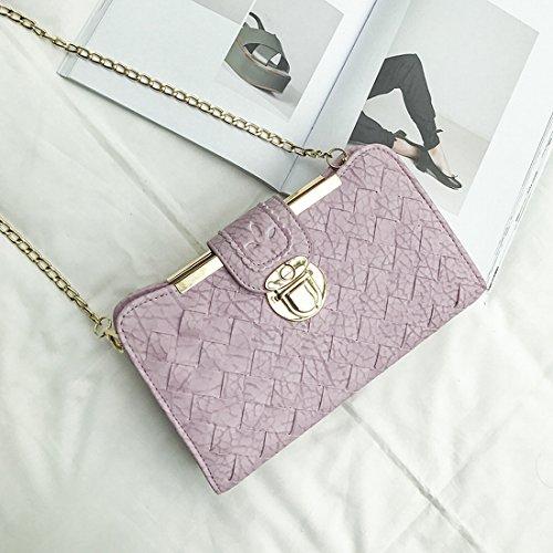 Weibliche Tasche Einfache Sperre Kleine Quadratisches Paket Reine Farbe Gewebt Schulter Messenger Tasche Rosa