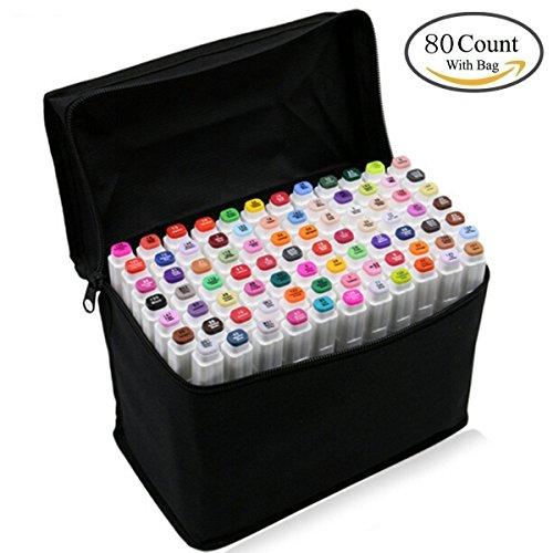 Pennarelli indelebili,necessario grafico pennarello 80 colori unici penne colorate con doppia punta a pennello, ideale per il disegno di precisione, la scrittura, la colorazione (bianco, 80 colori)