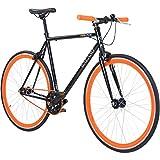 700C 28 Zoll Fixie Singlespeed Bike Galano Blade 5 Farben zur Auswahl, Rahmengrösse:56 cm, Farbe:Schwarz / Orange