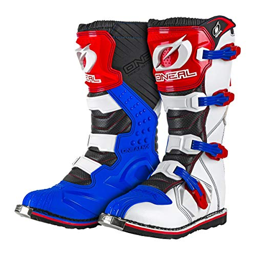 O'Neal Rider Boot MX Cross Stiefel Blau Rot Weiß Motorrad Enduro Motocross Offroad, 0329-7, Größe 42