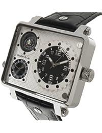 Boudier & Cie Herren Metropolitain Kingsize Collection Quarz Armbanduhr mit zwei Zeitzonen und eckigem Gehäuse - Analoge Anzeige - Kompass - Lederarmband Gehäuse aus Edelstahl Größe XL - OZG1135