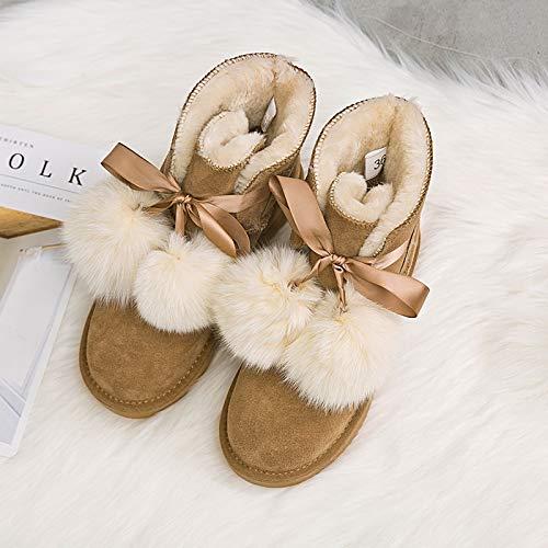 tiefel Winter Schnee Stiefel weibliche Pu-Rohr Plus Baumwolle Dicke warme Student Schuhe Baumwolle Stiefel, 39, Maroon ()