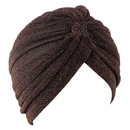 Haorw Frauen erleichtert muslimische Kopftuch Indische Turban-Hüte Turbanmütze Kopfbedeckung Schlafmütze für Haarverlust, Chemo, Krebs Cap Chemotherapie (Kaffee)