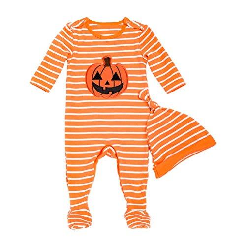Zhuhaitf Halloween Kürbis Baumwolle Onesies Kostüm 0-24 Monate Mädchen Jungen Rundhals Footed Spielanzug Outfits Overall