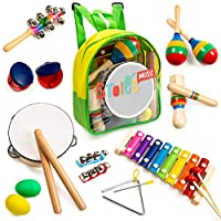 Stoie's- 18 Piece Musical Instrument Set for Toddlers, Preschool Children & Kids– Wooden Percussion Toys and Rhythm Instruments - Xylophone, Drum - Promotes Early Development - Backpack Included