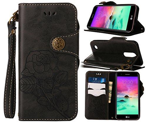 CLM-Tech Hülle für LG K10 (2017) Wallet Case Tasche Kunstleder - Handy Schutzhülle mit Standfunktion Kartenfach und Handschlaufe Flip Cover -Bookstyle Flipcase Rose schwarz