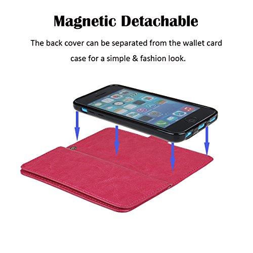 xhorizon TM FM8 Cuir Premium Folio étui [ la fonction de portefeuille] [magnétique détachable] Sac à main bracelet souple Carte Multiple couvrefente pour iPhone 5/iPhone SE Rose Rouge+Film acier