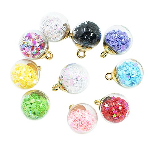 9c30c9546b71 Baoblaze 10 Pezzi Fashion Stars Lucky Glass Ball Wishing Bottle Pendant  Charms Collana DIY Monili Delle Donne Earring Hair Jewelry Findings 16mm  Fit ...