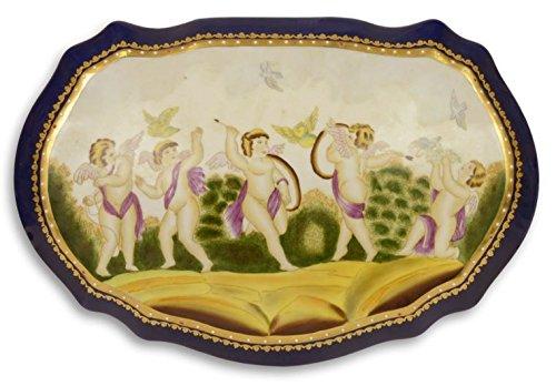 Casa Padrino Jugendstil Porzellan Schmuckschatulle Engel Mehrfarbig 32 x 21,6 x H. 12,4 cm - Deko...