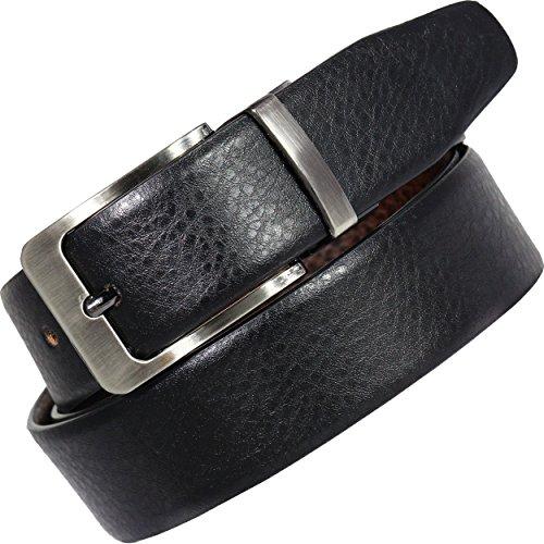 POLLSTAR Men Genuine Leather Dress Belt with Single Prong Buckle