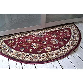 Wonderful Traditional Semi Circle Classic Oriental Persian Style Floral Half Moon Rug  / Mat, Red