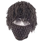 ARAUS Knit Cap Sombreros Hombres Cálido con Barba Hecha a Mano Peluca Invierno Máscara de Esquí Beanie (marrón)