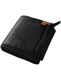 XCSOURCE® Monedero corto titular de la tarjeta de crédito ID Trifold cuero de los hombres de la moneda del dinero de bolsillo monedero Negro MT348