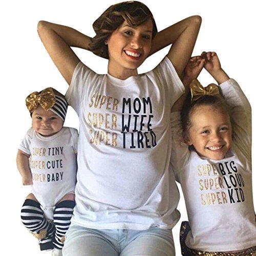 Tochter Lustige Kostüme Mutter (Xmansky Familie ausgestattet Mama und Tochter Brief T-Shirt (2/3)