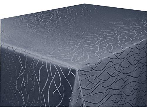 Tischdecke grau,anthrazit 90 x 90cm in glanzvoller Streifenoptik, eckig - Größe, Farbe & Form wählbar (Rund Eckig Oval)