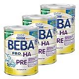 Nestlé BEBA PRO HA Pre, Kindermilch, Babynahrung, Anfangsnahrung von Geburt an, Dose, 3 x 800 g, 12332811