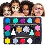 Unomor 14 Farben kinderschminken Halloween Schminke mit 40 Schablonen, 2 Professionellen Schwämmen, 2 Bürsten, 2 Glitzer