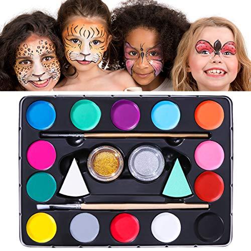 Unomor 14 Farben Karneval Makeup Kinderschminken Schminkfarben mit 40 Schablonen, 2 Professionellen Schwämmen, 2 Bürsten, 2 Glitzer