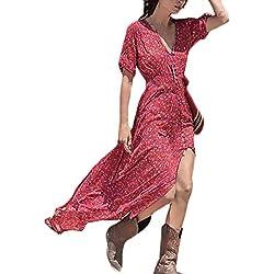 BOLAWOO Vestidos Mujer Largos de Verano Playa Elegantes Vintage Hippies Boho Estampadas 3/4 Manga V Cuello Irregular Vestido Largo
