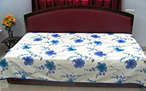 Nistaksh Cotton-Linen Single Bed Sheet /AC sheet/ khes / Bed Trow for summer in Floral Prints: Blue Flowers