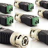 zanasta [8 Stück] BNC Stecker Terminalblock Connector zu 2 Pol Adapter, Kabel Verbinder mit Schraubklemme Schwarz-Grün