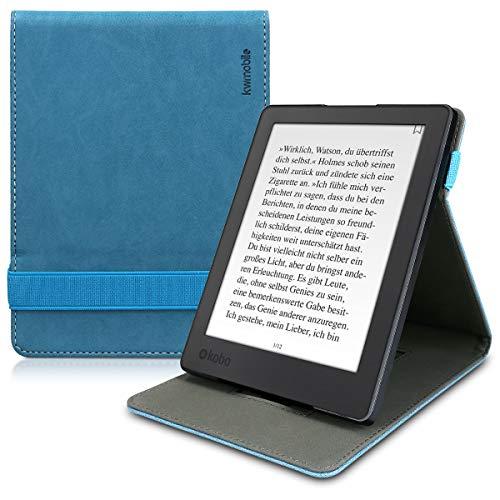 kwmobile Custodia Verticale per Kobo Aura H2O Edition 2 - in Pelle PU con Fascia Mano e leggìo - Standing Cover e-Reader Flip Case per Aura H2O Edition 2