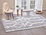 """A2Z Rug ( 140x200 cm (4ft7"""" x 6ft7"""") Light Grey 5532 ) Modern & Traditional Moroccan Shaggy Collection Contemporary Living & Bedroom Soft Shaggy Area Rug, Carpet"""