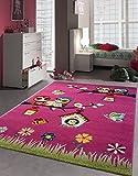 Kinder Teppich niedliche Eule Biene Vogel Kinderzimmer Spielteppich Tiermotive - 160x230 cm - schadstofffrei - Pink Grün Blau