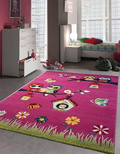 PHC Alfombra Alfombra para dormitorio juvenil infantil dulce Búho abeja pájaro rosa, 160 x 230 cm