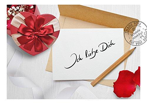 Stempel: Textstempel ICH LIEBE DICH Herz handschriftlich – Schriftstempel oder Hochzeitsstempel Thema Liebe Valentinstag für Heirat Karten Geschenk-Anhänger –