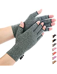 Arthritis Gloves by Duerer - Compression Gloves for Rheumatoid & Osteoarthritis - Hand Gloves Provide Arthritic Joint Pain Symptom Relief - Men & Women - Open Finger(Gray, M)