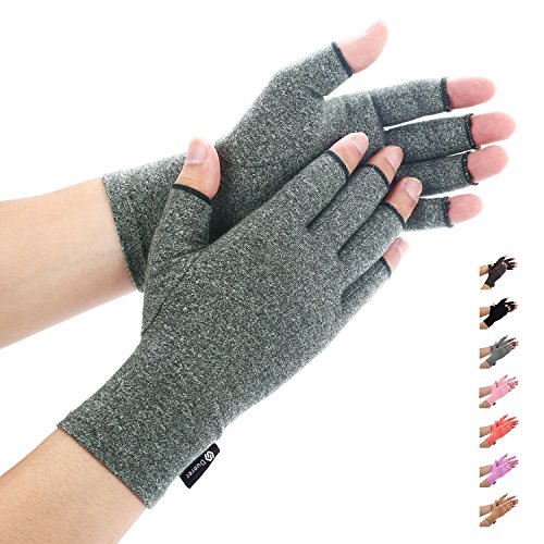 Price comparison product image Arthritis Gloves by Duerer - Compression Gloves for Rheumatoid & Osteoarthritis - Hand Gloves Provide Arthritic Joint Pain Symptom Relief - Men & Women - Open Finger(Gray,  M)