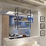 JHXGDJ Eisen Deckenregal Deckenregal Loft Retro-Massivholz Schmiedeeisen Restaurant Front Regal Rack Regal Ra (Farbe : C, Größe : 60cm)