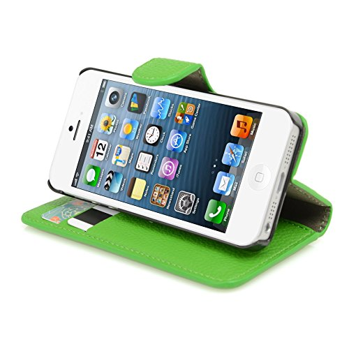 Genuine MadCase? Clear Transparent Ultra Thin Slim Crystal Back Cover Case for Apple iPhone 5 16GB 32GB 64GB - includes Screen Protector and Cloth grainé PU Doux - Vert