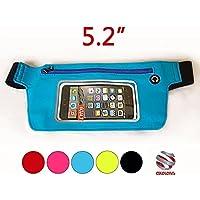 MARSUPIO TOUCH UNIVERSALE PER SMARTPHONE - AZZURRO - WATERPROOF SPORT - CON FASCIA REGOLABILE da 62 a 125 cm - PER TELEFONI FINO A 5.2 POLLICI (Misure massime telefono: 14,5 x 7 cm) - Vento Fino Chiave