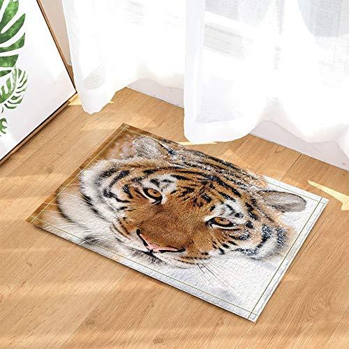 XHWL767 Safari-Dekor Asiatischer Sibirischer Tiger mit Schnee auf Kopf-Badteppichen 40X60 cm Küchenbadezubehör