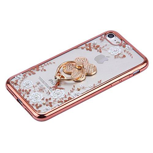 iPhone 6 Plus Hülle,iPhone 6S Plus Bling Case - Felfy Luxe Ultradünnen Weich Silikon TPU Silikon Handy Hülle Schutzhülle Durchsichtig Bling Glitzer Sparkles Shiny Case Kratzfest Bumper Soft Rückseite  Rose Gold Klee Weiße Blume