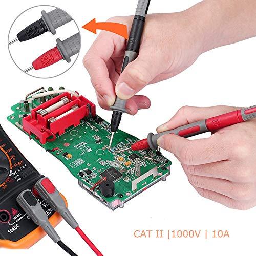 RENNICOCO Multimeter Electronic Test Leads Zubehör-Kit mit Test Extension Krokodilklemmen Prüfspitze und Plunger Mini-Haken für Multimeter und Zangenmessgeräte