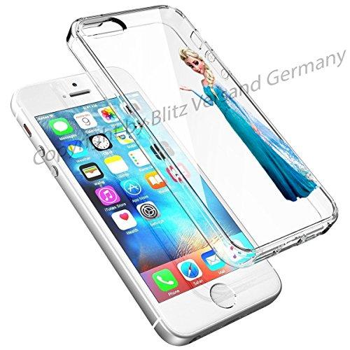 Blitz® DISNEY Schutz Hülle Transparent TPU Cartoon Comic Case iPhone 6 6s Arielle, die Meerjungfrau ELSA, die Eisprinzessin
