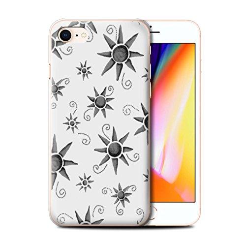 Stuff4 Hülle / Case für Apple iPhone 8 / Grün/Weiß Muster / Sonnenschein Muster Kollektion Schwarz/Weiß