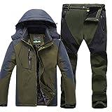 Herren Wasserdichte Warm Regenjacke Outdoor Jacke Funktionshosen Wasserdicht warm Skihosen Trekkinghose Kit Armee-Grün A XXXL