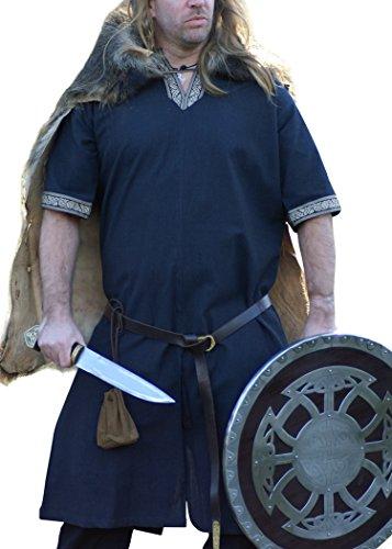 16. Jahrhundert Männer-kleidung (Mittelalterliche Tunika kurzarm, blau von Battle-Merchant - LARP Wikinger Mittelalter Größe M)