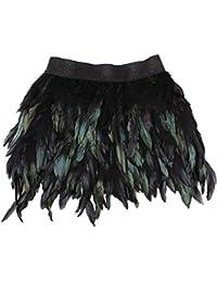 Sunbeter Mini Falda Mujer Pluma Negra con Cintura elástica Falda (XL)